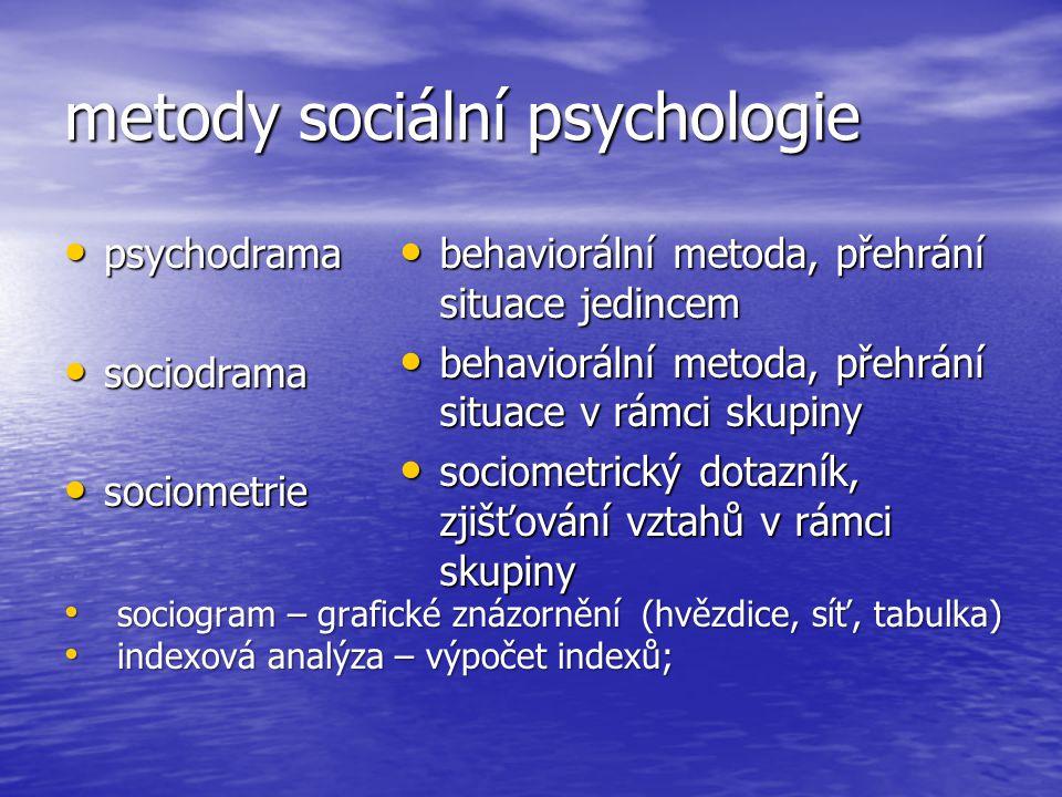 metody sociální psychologie psychodrama psychodrama sociodrama sociodrama sociometrie sociometrie sociogram – grafické znázornění (hvězdice, síť, tabu