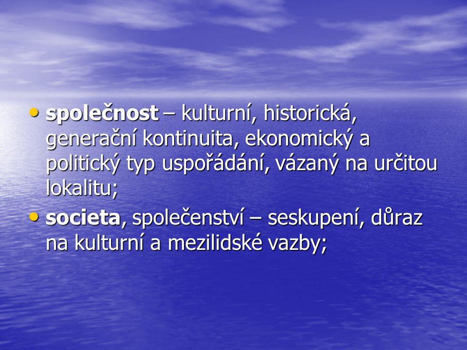 společnost – kulturní, historická, generační kontinuita, ekonomický a politický typ uspořádání, vázaný na určitou lokalitu; společnost – kulturní, his