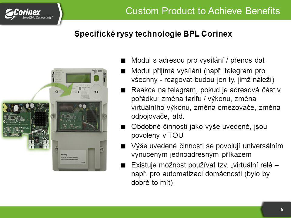 Specifické rysy technologie BPL Corinex 6 ■ Modul s adresou pro vysílání / přenos dat ■ Modul přijímá vysílání (např. telegram pro všechny - reagovat