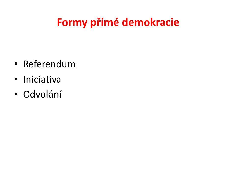 Formy přímé demokracie Referendum Iniciativa Odvolání