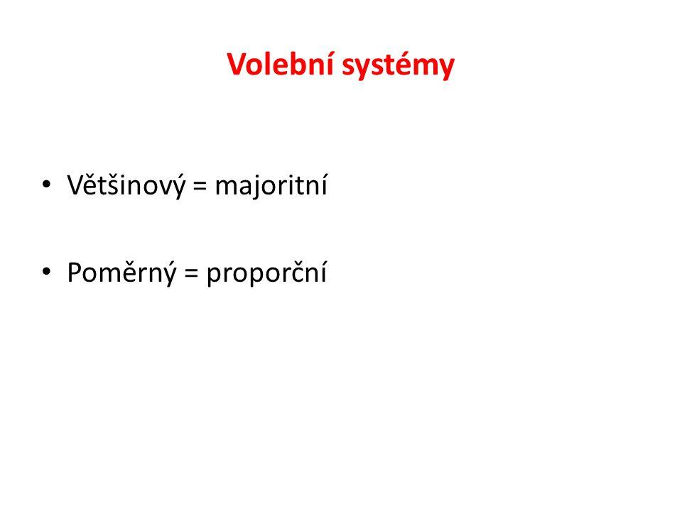 Volební systémy Většinový = majoritní Poměrný = proporční