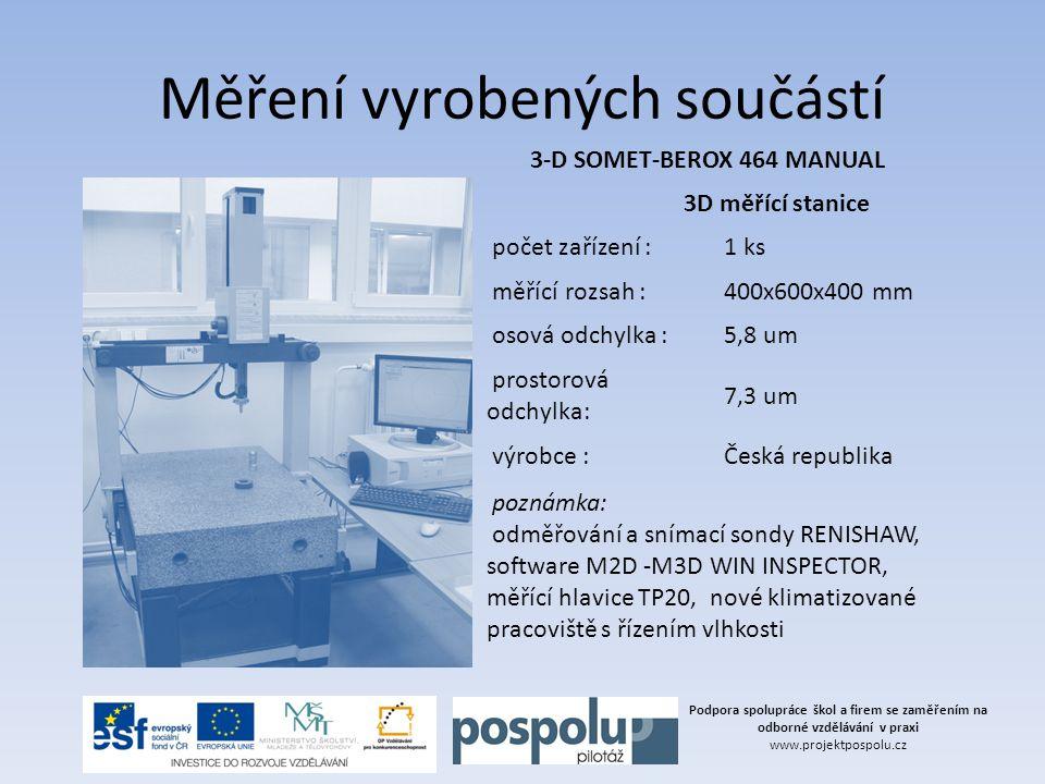 Podpora spolupráce škol a firem se zaměřením na odborné vzdělávání v praxi www.projektpospolu.cz Měření vyrobených součástí 3-D SOMET-BEROX 464 MANUAL