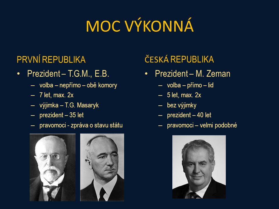 MOC VÝKONNÁ PRVNÍ REPUBLIKA Vláda – ministři – nedůvěra/důvěra - PS – návrhy zákonů, vládní nařízení – jmenuje, rozpouští prezident – bez uzavírací klauzule ČESKÁ REPUBLIKA Vláda – ministři – nedůvěra/důvěra – PS – návrhy zákonů, vládní nařízení – jmenuje, rozpouští prezident – uzavírací klauzule 5%