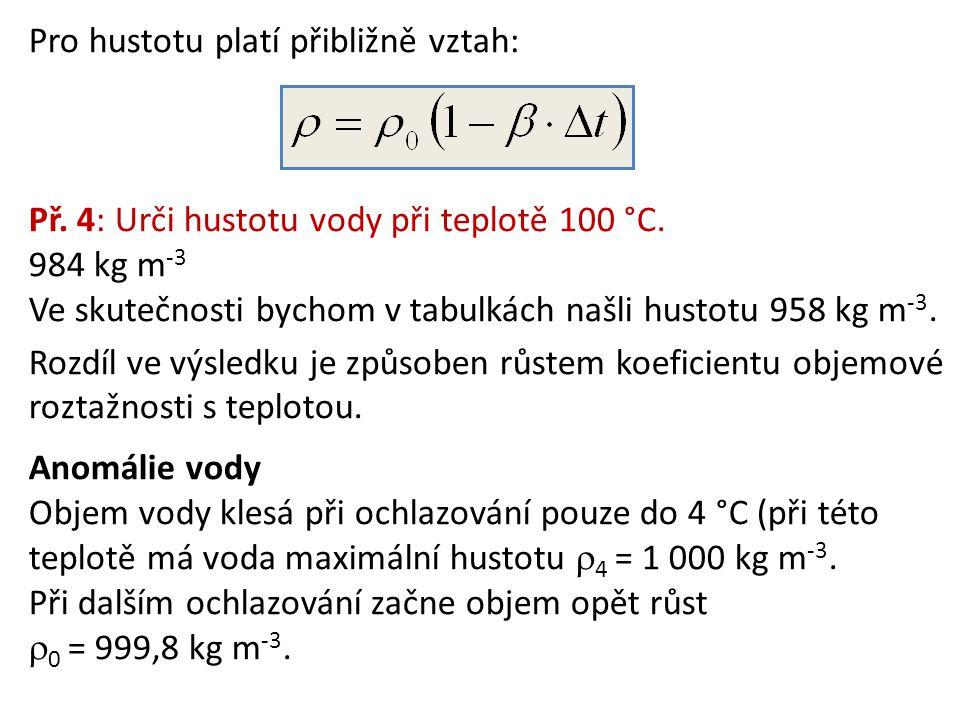Pro hustotu platí přibližně vztah: Př. 4: Urči hustotu vody při teplotě 100 °C. 984 kg m -3 Ve skutečnosti bychom v tabulkách našli hustotu 958 kg m -