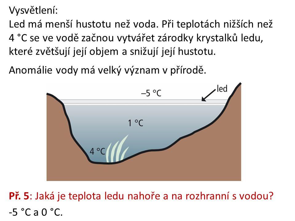 Vysvětlení: Led má menší hustotu než voda. Při teplotách nižších než 4 °C se ve vodě začnou vytvářet zárodky krystalků ledu, které zvětšují její objem