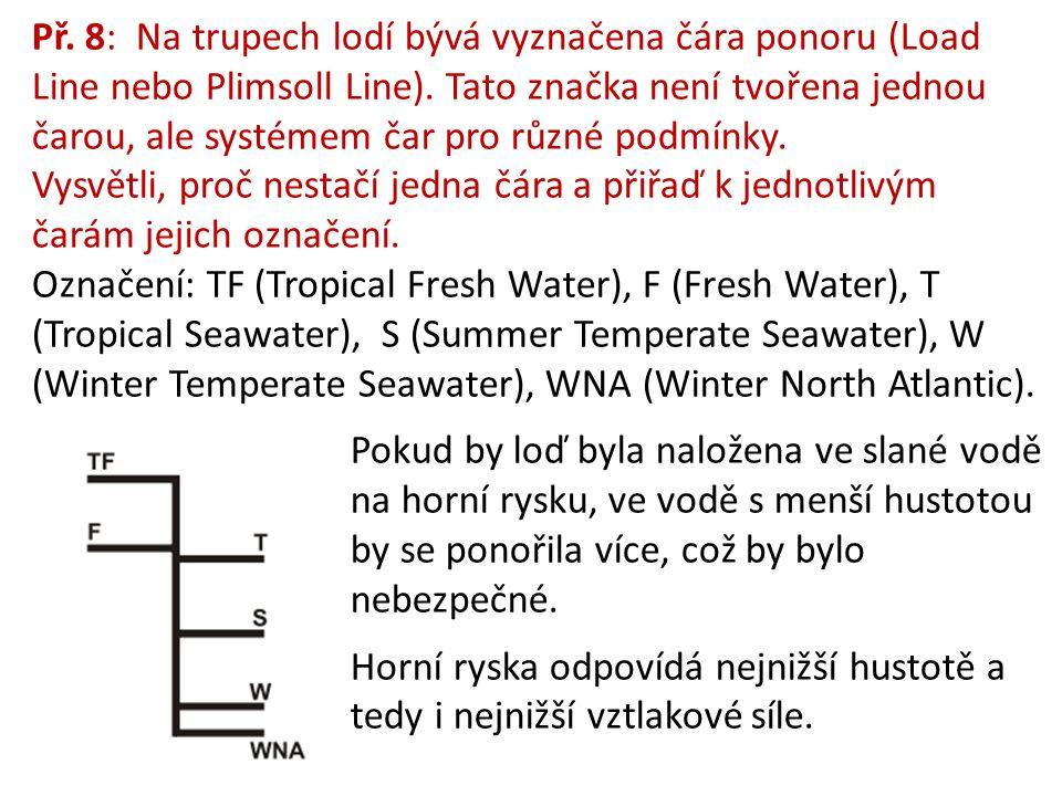 Př. 8: Na trupech lodí bývá vyznačena čára ponoru (Load Line nebo Plimsoll Line). Tato značka není tvořena jednou čarou, ale systémem čar pro různé po