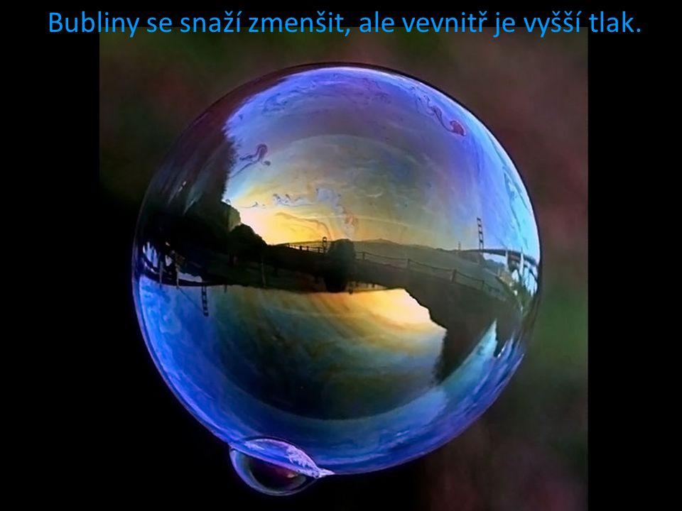 Bubliny se snaží zmenšit, ale vevnitř je vyšší tlak.