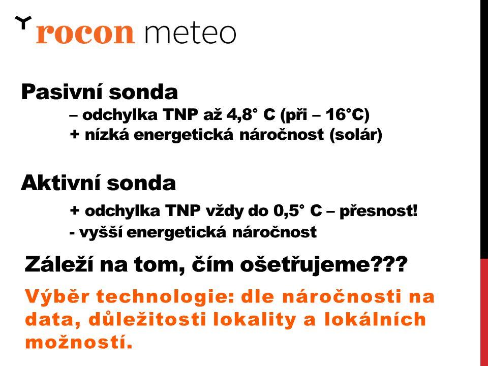 Výběr technologie: dle náročnosti na data, důležitosti lokality a lokálních možností. Pasivní sonda – odchylka TNP až 4,8° C (při – 16°C) + nízká ener