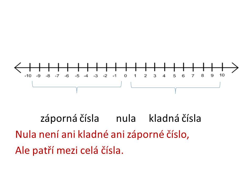 záporná čísla nula kladná čísla Nula není ani kladné ani záporné číslo, Ale patří mezi celá čísla.