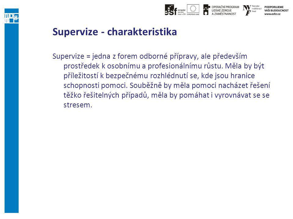 Supervize - charakteristika Supervize = jedna z forem odborné přípravy, ale především prostředek k osobnímu a profesionálnímu růstu.