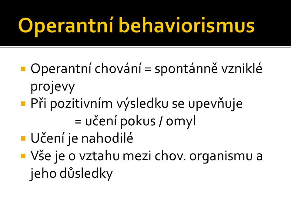  Operantní chování = spontánně vzniklé projevy  Při pozitivním výsledku se upevňuje = učení pokus / omyl  Učení je nahodilé  Vše je o vztahu mezi