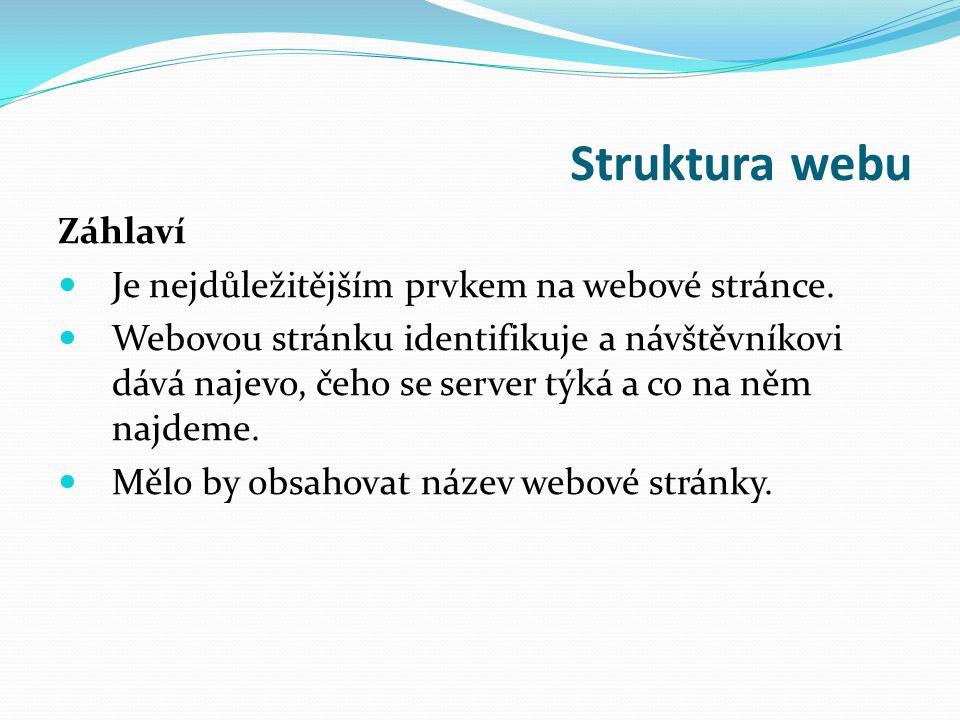 Struktura webu Záhlaví Je nejdůležitějším prvkem na webové stránce.
