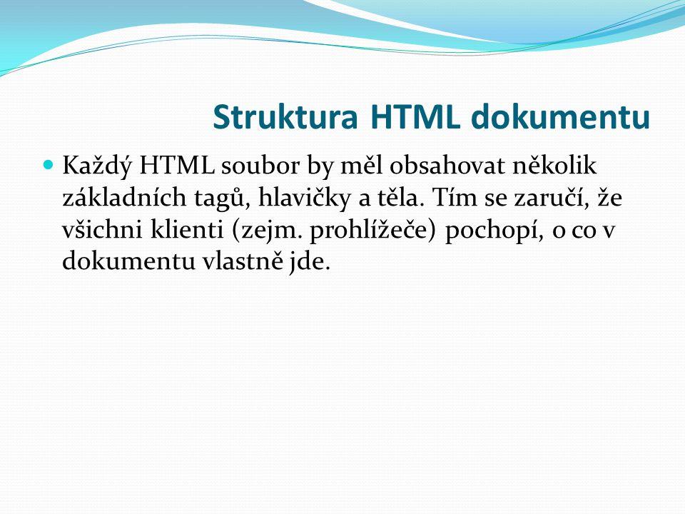 Struktura HTML dokumentu Každý HTML soubor by měl obsahovat několik základních tagů, hlavičky a těla.