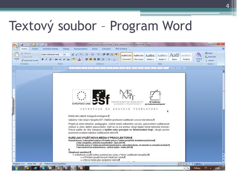 Textový soubor – Program Word 4