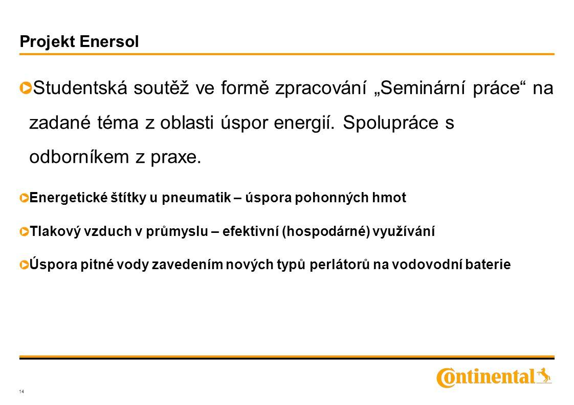 """Projekt Enersol Studentská soutěž ve formě zpracování """"Seminární práce na zadané téma z oblasti úspor energií."""