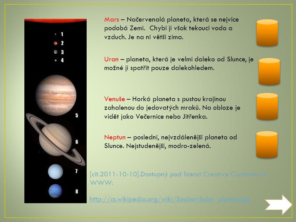[cit.2011-10-10].Dostupný pod licencí Creative Commons na WWW: http://cs.wikipedia.org/wiki/Soubor:Solar_planets.jpg Merkur – Celý je posetý krátery, je na něm strašné horko, obíhá slunce nejrychleji, je nejmenší planetkou soustavy.