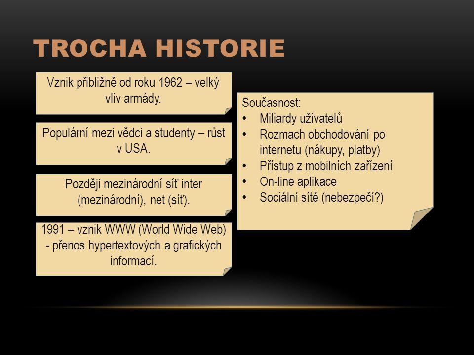TROCHA HISTORIE Vznik přibližně od roku 1962 – velký vliv armády.
