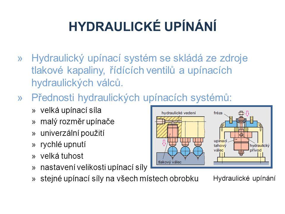 HYDRAULICKÉ UPÍNÁNÍ »Hydraulický upínací systém se skládá ze zdroje tlakové kapaliny, řídících ventilů a upínacích hydraulických válců.