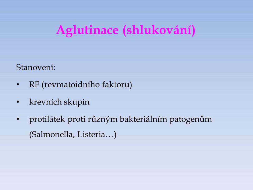 Aglutinace (shlukování) Stanovení: RF (revmatoidního faktoru) krevních skupin protilátek proti různým bakteriálním patogenům (Salmonella, Listeria…)
