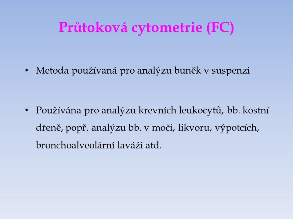 Průtoková cytometrie (FC) Metoda používaná pro analýzu buněk v suspenzi Používána pro analýzu krevních leukocytů, bb.