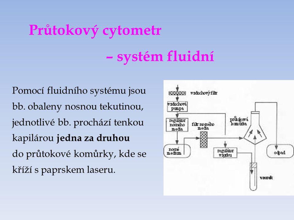 Průtokový cytometr – systém fluidní Pomocí fluidního systému jsou bb.