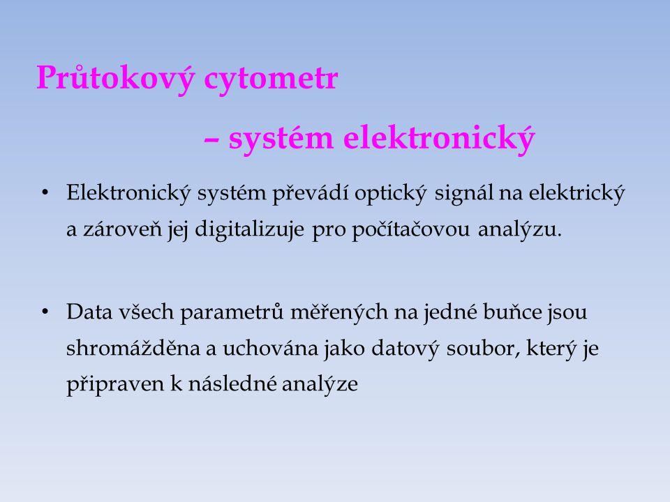 Průtokový cytometr – systém elektronický Elektronický systém převádí optický signál na elektrický a zároveň jej digitalizuje pro počítačovou analýzu.
