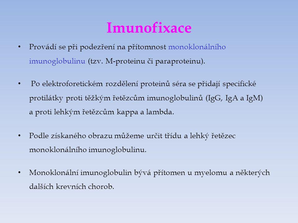 Imunofixace Provádí se při podezření na přítomnost monoklonálního imunoglobulinu (tzv.