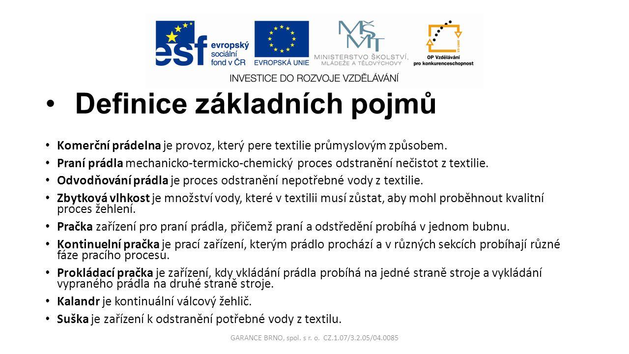 Definice základních pojmů Komerční prádelna je provoz, který pere textilie průmyslovým způsobem. Praní prádla mechanicko-termicko-chemický proces odst