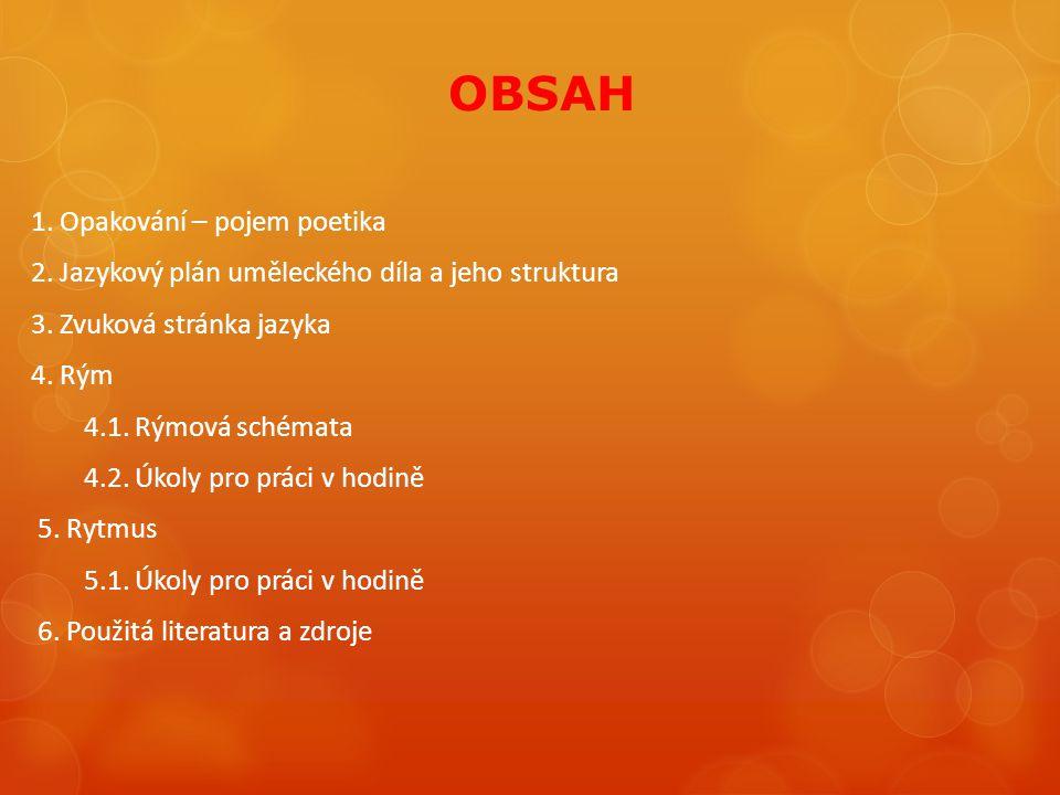 OBSAH 1. Opakování – pojem poetika 2. Jazykový plán uměleckého díla a jeho struktura 3. Zvuková stránka jazyka 4. Rým 4.1. Rýmová schémata 4.2. Úkoly