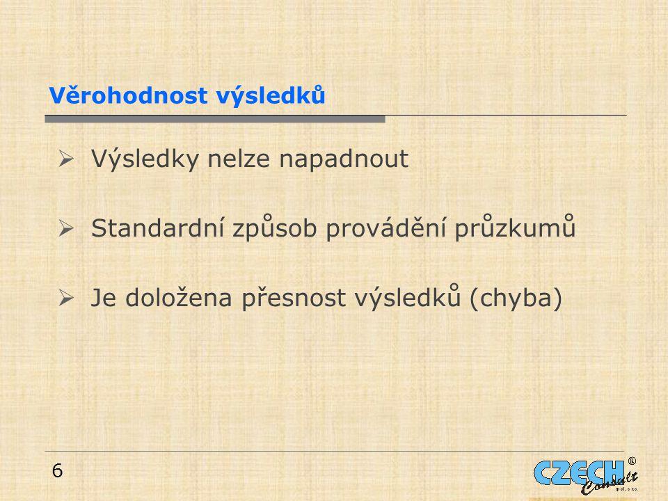 6 Věrohodnost výsledků  Výsledky nelze napadnout  Standardní způsob provádění průzkumů  Je doložena přesnost výsledků (chyba)