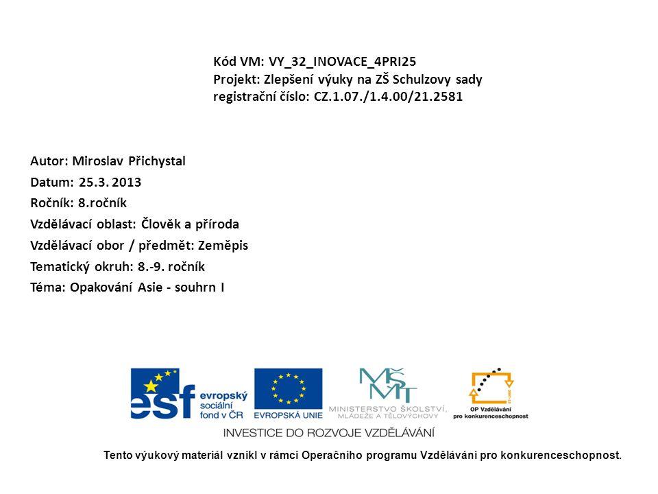 Kód VM: VY_32_INOVACE_4PRI25 Projekt: Zlepšení výuky na ZŠ Schulzovy sady registrační číslo: CZ.1.07./1.4.00/21.2581 Autor: Miroslav Přichystal Datum: 25.3.