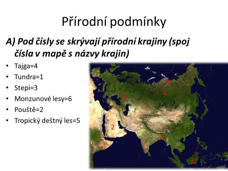 Přírodní podmínky A) Pod čísly se skrývají přírodní krajiny (spoj čísla v mapě s názvy krajin) Tajga=4 Tundra=1 Stepi=3 Monzunové lesy=6 Pouště=2 Tropický deštný les=5 6 5 4 3 2 1