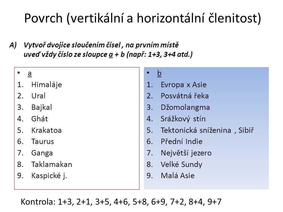 Povrch (vertikální a horizontální členitost) A)Vytvoř dvojice sloučením čísel, na prvním místě uveď vždy číslo ze sloupce a + b (např: 1+3, 3+4 atd.) a 1.Himaláje 2.Ural 3.Bajkal 4.Ghát 5.Krakatoa 6.Taurus 7.Ganga 8.Taklamakan 9.Kaspické j.