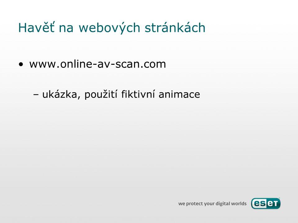 Havěť na webových stránkách www.online-av-scan.com –ukázka, použití fiktivní animace