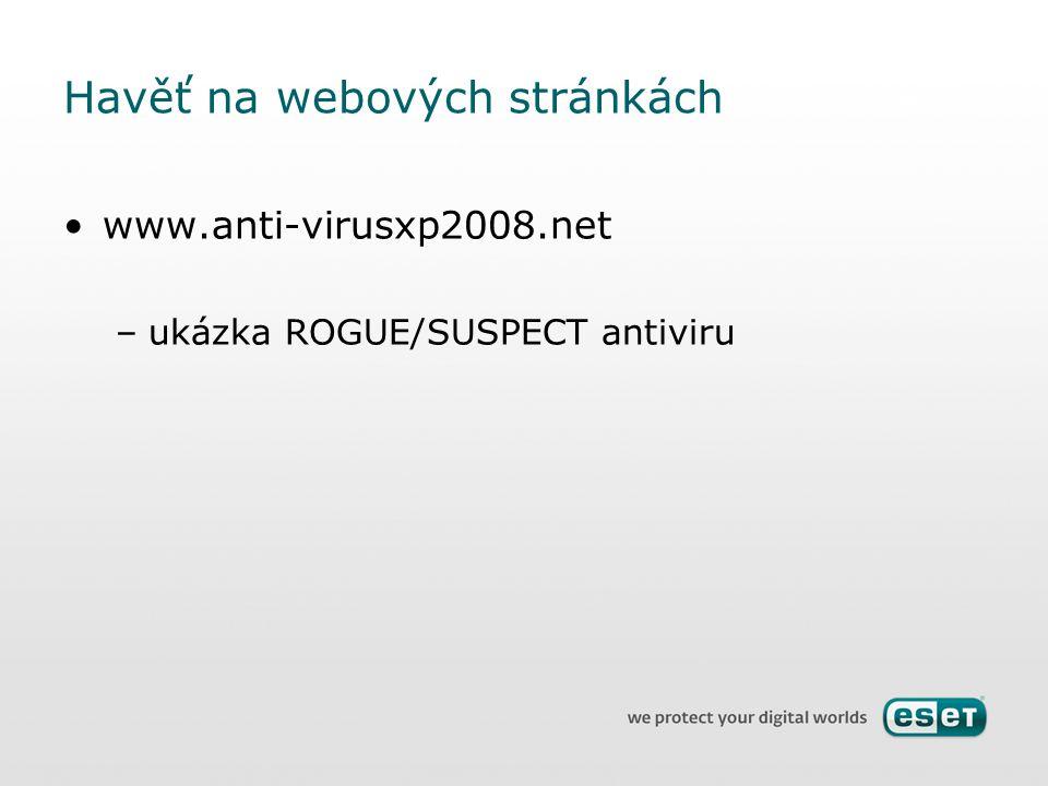 Havěť na webových stránkách www.anti-virusxp2008.net –ukázka ROGUE/SUSPECT antiviru