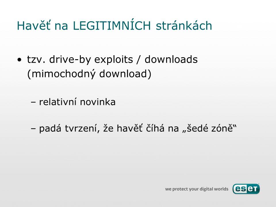 """Havěť na LEGITIMNÍCH stránkách tzv. drive-by exploits / downloads (mimochodný download) –relativní novinka –padá tvrzení, že havěť číhá na """"šedé zóně"""""""