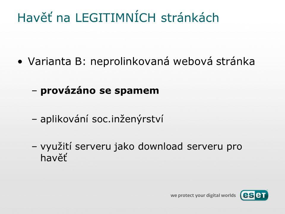 Varianta B: neprolinkovaná webová stránka –provázáno se spamem –aplikování soc.inženýrství –využití serveru jako download serveru pro havěť Havěť na L