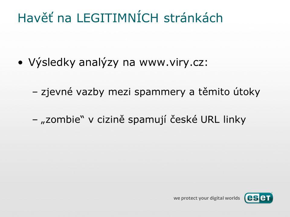 """Výsledky analýzy na www.viry.cz: –zjevné vazby mezi spammery a těmito útoky –""""zombie"""" v cizině spamují české URL linky Havěť na LEGITIMNÍCH stránkách"""