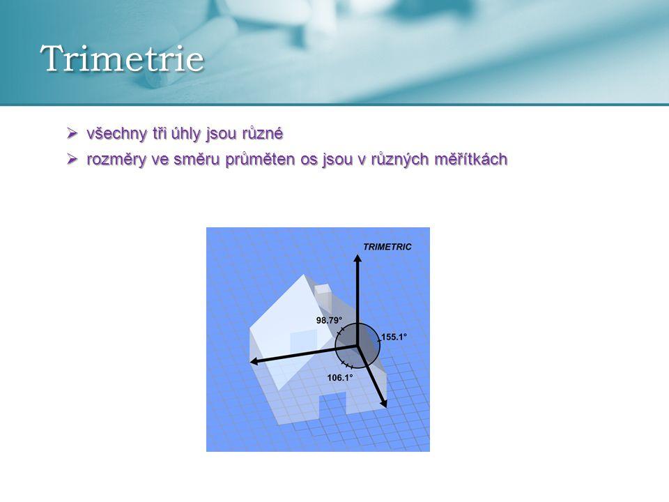 Trimetrie  všechny tři úhly jsou různé  rozměry ve směru průměten os jsou v různých měřítkách