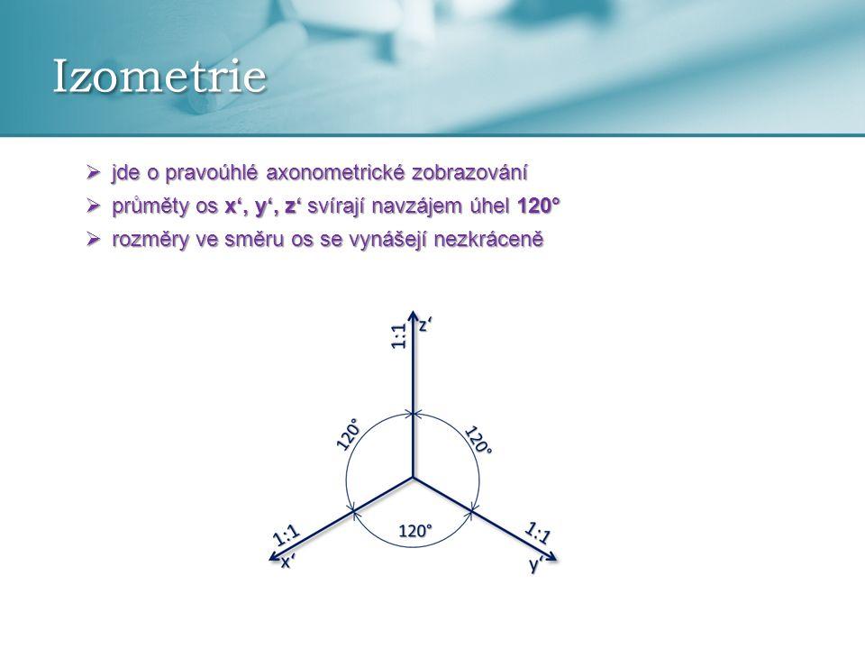 Izometrie  jde o pravoúhlé axonometrické zobrazování  průměty os x', y', z' svírají navzájem úhel 120°  rozměry ve směru os se vynášejí nezkráceně