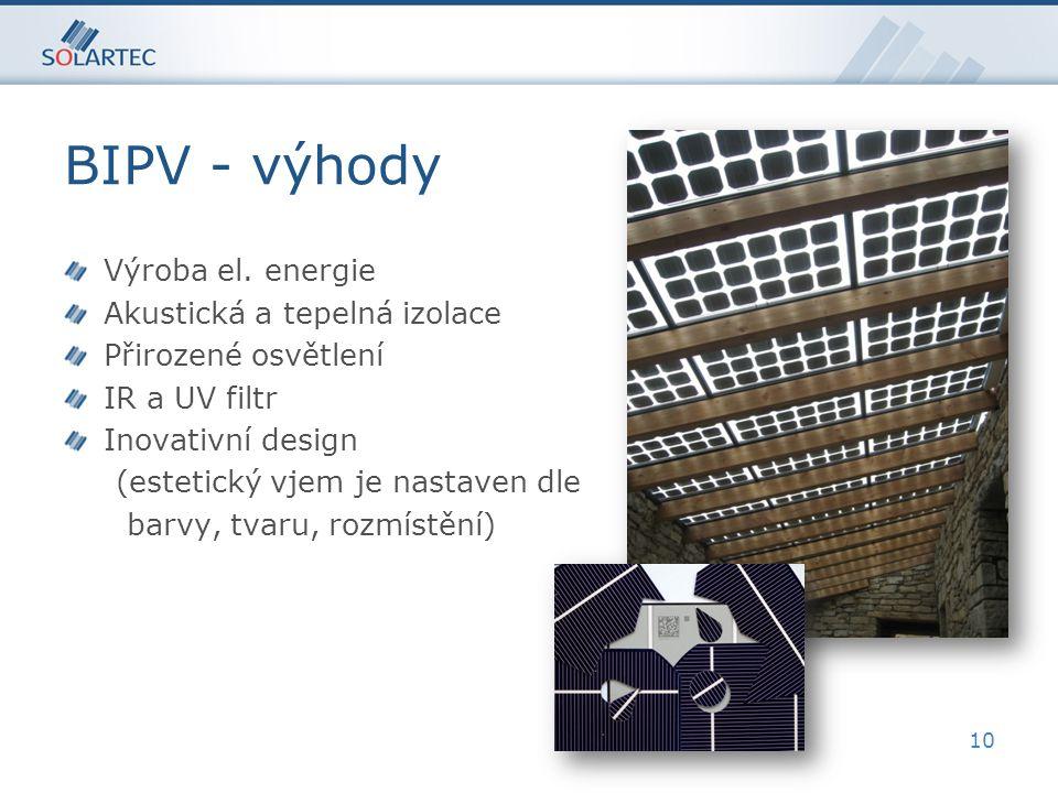 BIPV - výhody Výroba el.