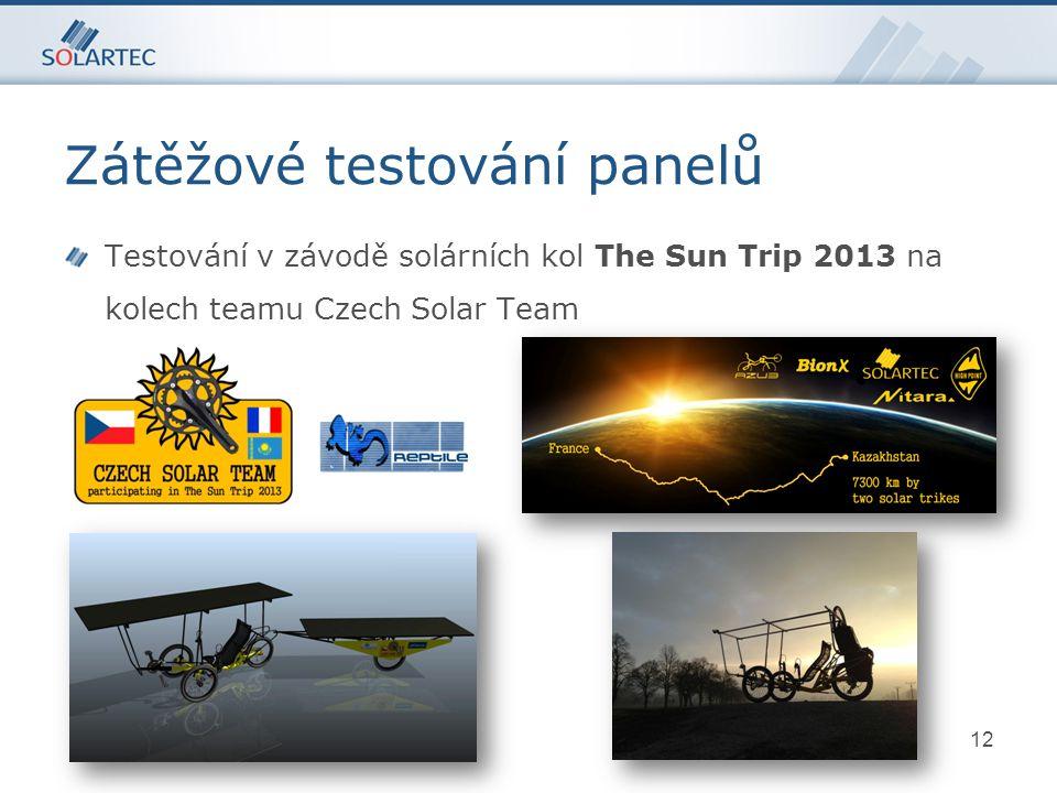 12 Testování v závodě solárních kol The Sun Trip 2013 na kolech teamu Czech Solar Team p-typový Si Zátěžové testování panelů