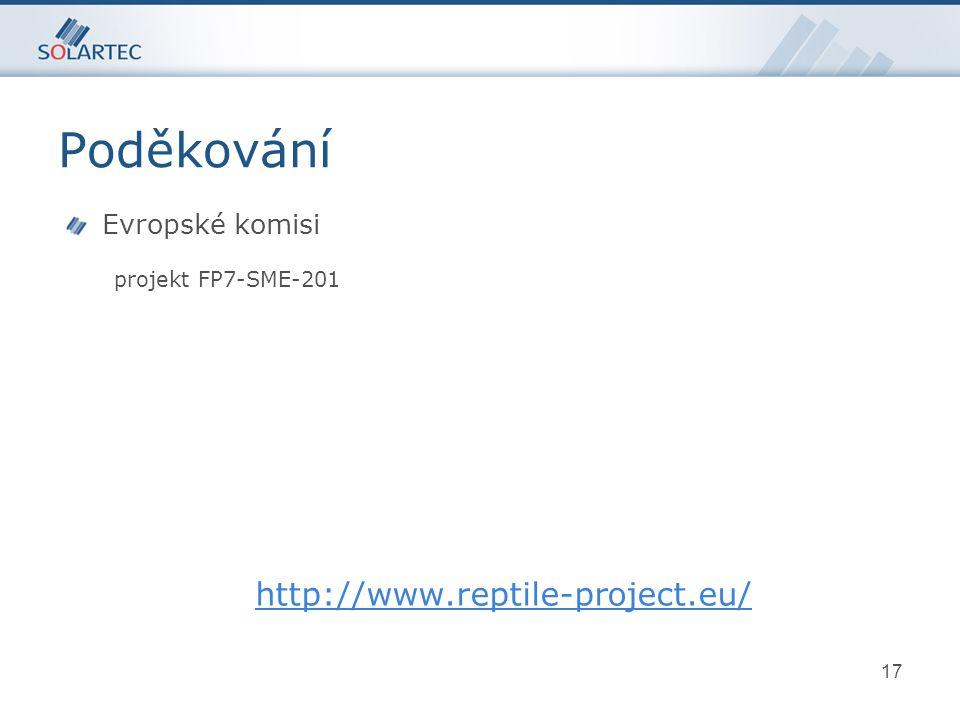 17 Evropské komisi projekt FP7-SME-201 http://www.reptile-project.eu/ Poděkování