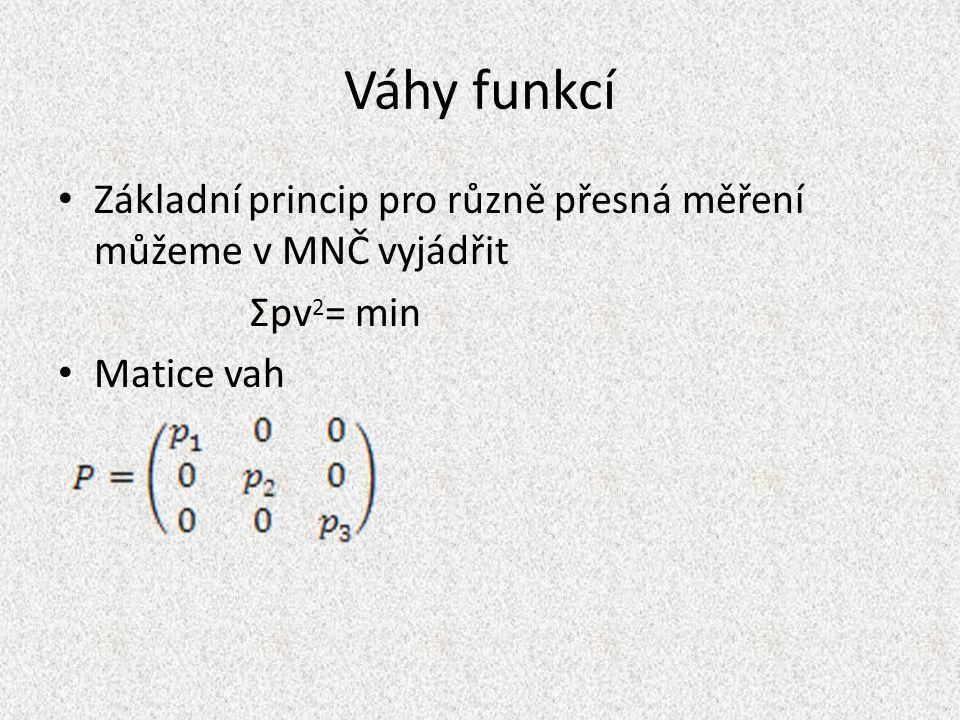 Váhy funkcí Základní princip pro různě přesná měření můžeme v MNČ vyjádřit Σpv 2 = min Matice vah
