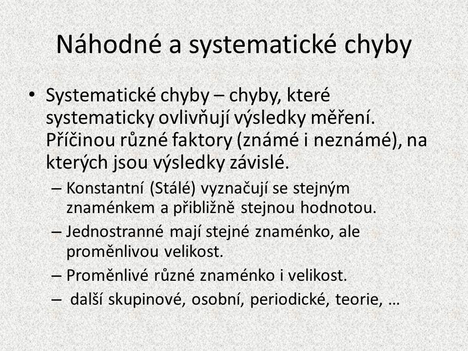 Náhodné a systematické chyby Systematické chyby – chyby, které systematicky ovlivňují výsledky měření.