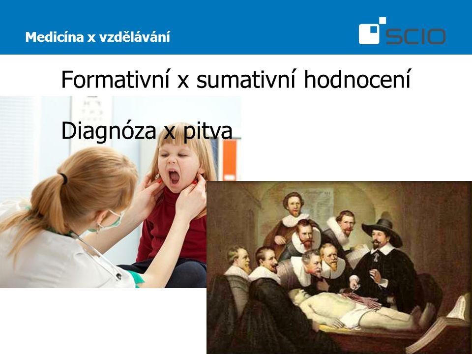 Formativní x sumativní hodnocení Medicína x vzdělávání Diagnóza x pitva