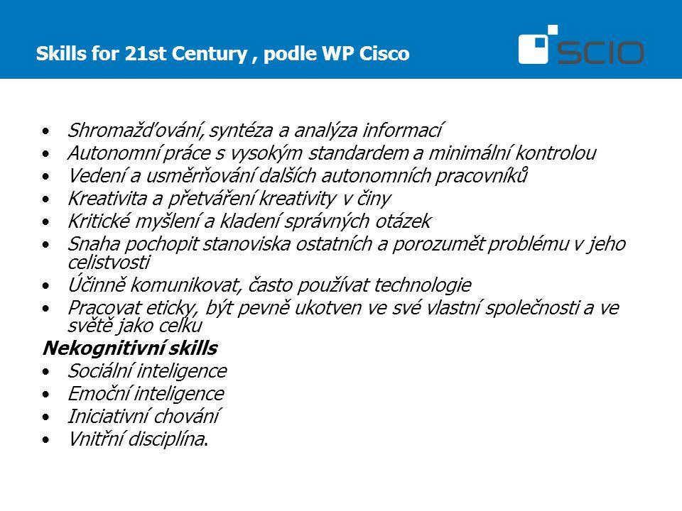 Skills for 21st Century, podle WP Cisco Shromažďování, syntéza a analýza informací Autonomní práce s vysokým standardem a minimální kontrolou Vedení a usměrňování dalších autonomních pracovníků Kreativita a přetváření kreativity v činy Kritické myšlení a kladení správných otázek Snaha pochopit stanoviska ostatních a porozumět problému v jeho celistvosti Účinně komunikovat, často používat technologie Pracovat eticky, být pevně ukotven ve své vlastní společnosti a ve světě jako celku Nekognitivní skills Sociální inteligence Emoční inteligence Iniciativní chování Vnitřní disciplína.