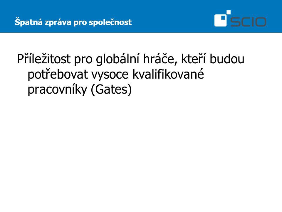 Špatná zpráva pro společnost Příležitost pro globální hráče, kteří budou potřebovat vysoce kvalifikované pracovníky (Gates)