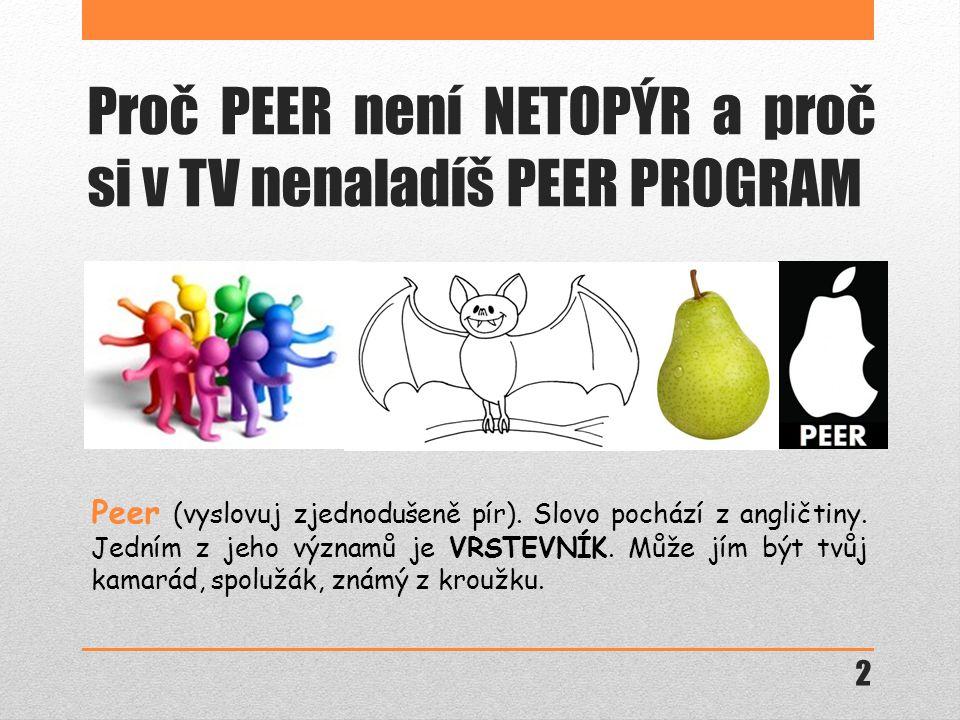 Proč PEER není NETOPÝR a proč si v TV nenaladíš PEER PROGRAM Peer (vyslovuj zjednodušeně pír).